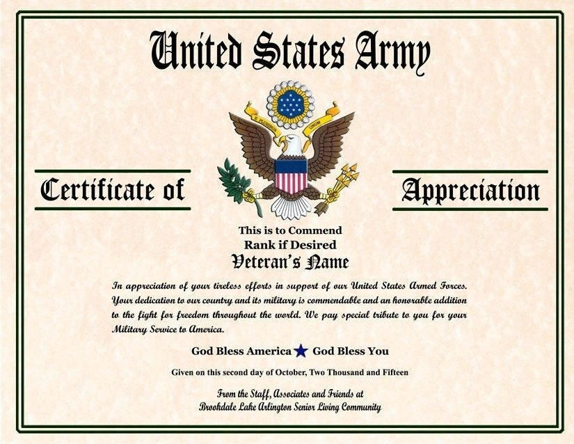 11+ Army Appreciation Certificate Templates - PDF, DOCX  Free  In Army Certificate Of Completion Template With Army Certificate Of Completion Template