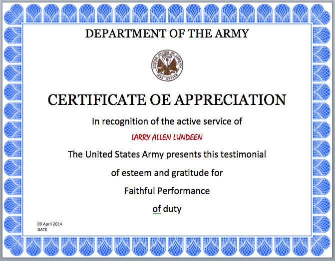 11+ Army Appreciation Certificate Templates - PDF, DOCX  Free  Inside Army Certificate Of Completion Template Regarding Army Certificate Of Completion Template