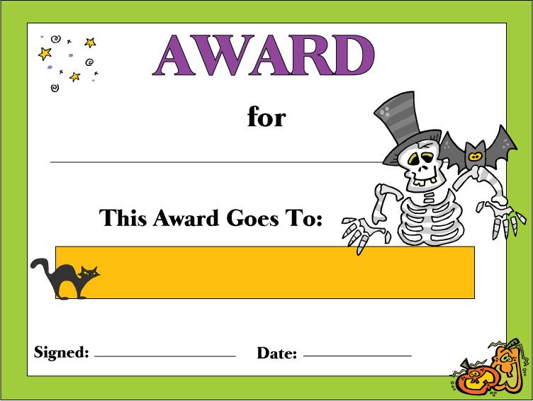 11 Best Free Printable Halloween Awards - printablee Pertaining To Halloween Certificate Template