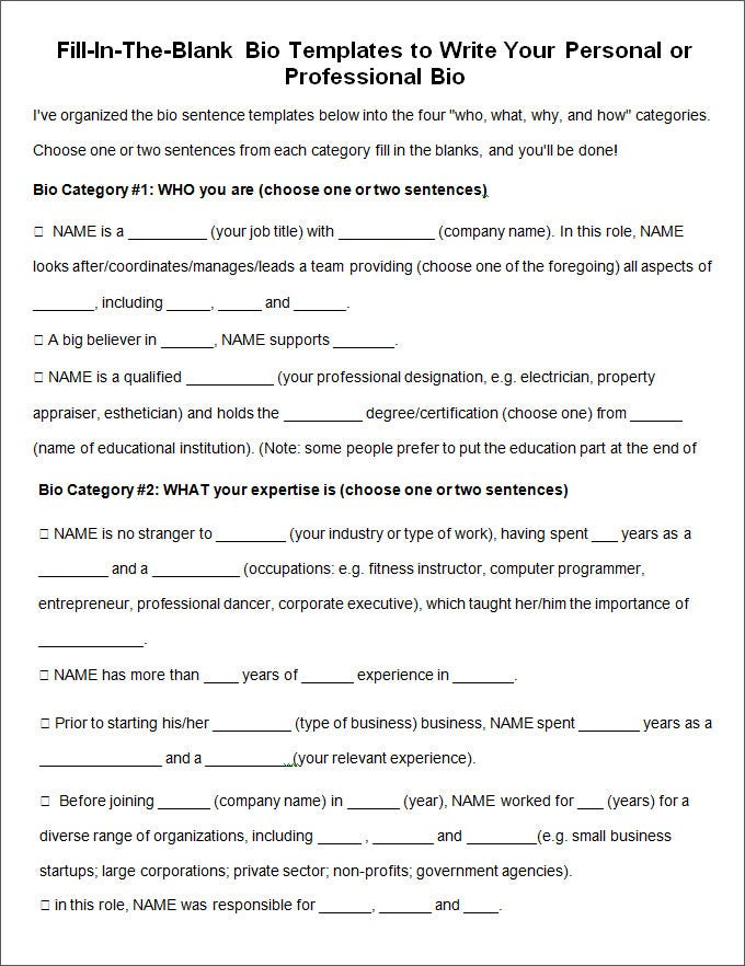 11+ Biography Templates - DOC, PDF, Excel  Free & Premium Templates Throughout Free Bio Template Fill In Blank Within Free Bio Template Fill In Blank