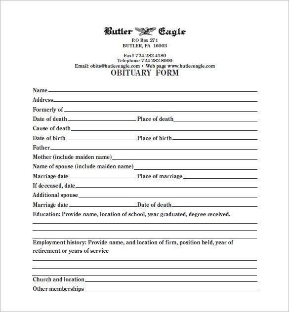 11+ Blank Obituary Templates - DOC, PDF  Free & Premium Templates Intended For Obituary Template Word Document Within Obituary Template Word Document