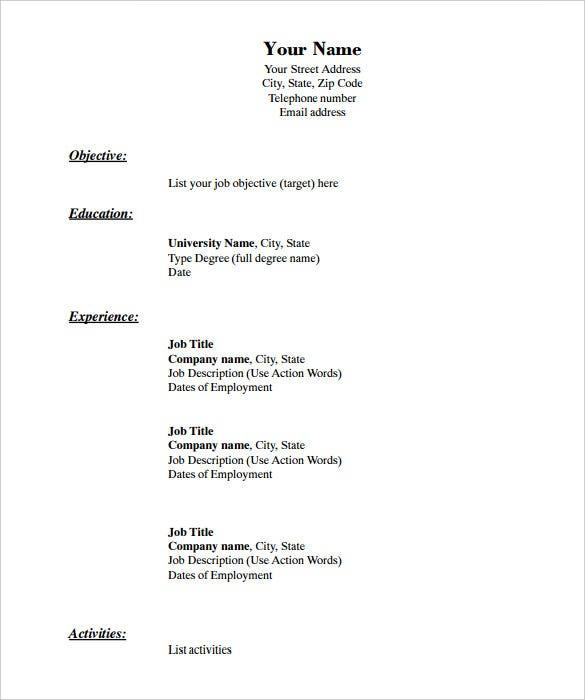 11+ Blank Resume Templates - DOC, PDF  Free & Premium Templates Within Free Blank Cv Template Download Intended For Free Blank Cv Template Download