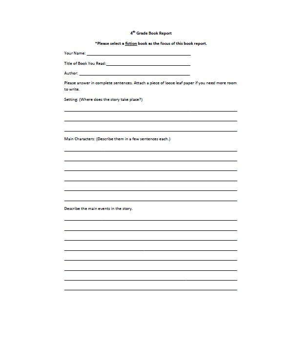 11 Book Report Templates & Reading Worksheets In Book Report Template 4th Grade Pertaining To Book Report Template 4th Grade