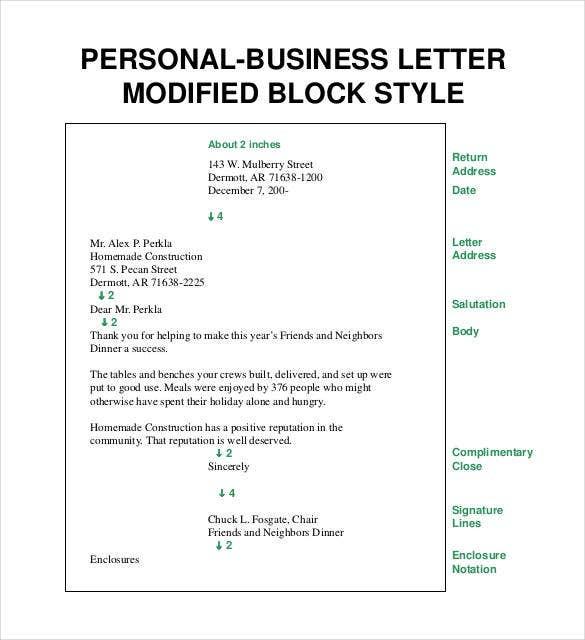 11+ Business Letter Templates -PDF, DOC  Free & Premium Templates Within Modified Block Letter Template Word Regarding Modified Block Letter Template Word