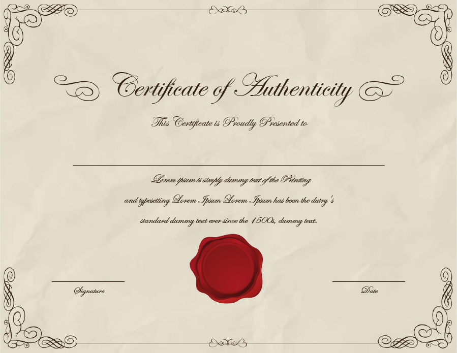 11 Certificate of Authenticity Templates (Art, Car, Autograph, Photo) Intended For Certificate Of Authorization Template Within Certificate Of Authorization Template