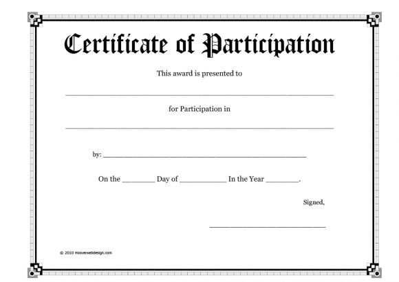 11+ Certificate of Participation Templates - Printable Templates Intended For Participation Certificate Templates Free Download In Participation Certificate Templates Free Download