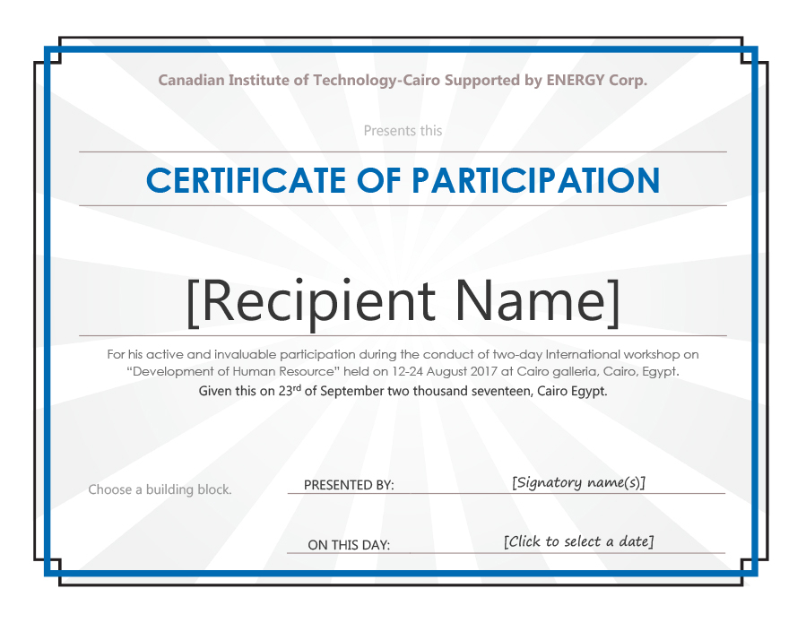 11+ Certificate of Participation Templates - Printable Templates With Participation Certificate Templates Free Download Within Participation Certificate Templates Free Download