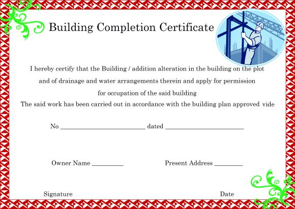 11+ Construction Certificate of Completion Templates (Professional  With Regard To Certificate Of Completion Template Construction Regarding Certificate Of Completion Template Construction