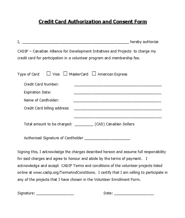 11 Credit Card Authorization Forms Templates Ready-to-Use Throughout Authorization To Charge Credit Card Template For Authorization To Charge Credit Card Template