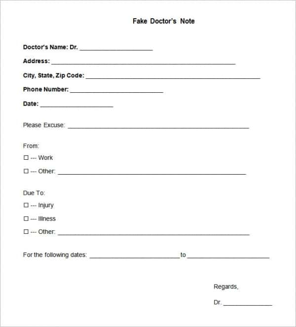 11+ Doctors Note Templates - Word, PDF, Apple Pages, Google Docs  Pertaining To Free Fake Doctors Note Template Download Regarding Free Fake Doctors Note Template Download
