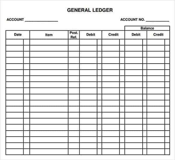 11+ Excel General Ledger Templates - Excel Templates Inside Blank Ledger Template For Blank Ledger Template
