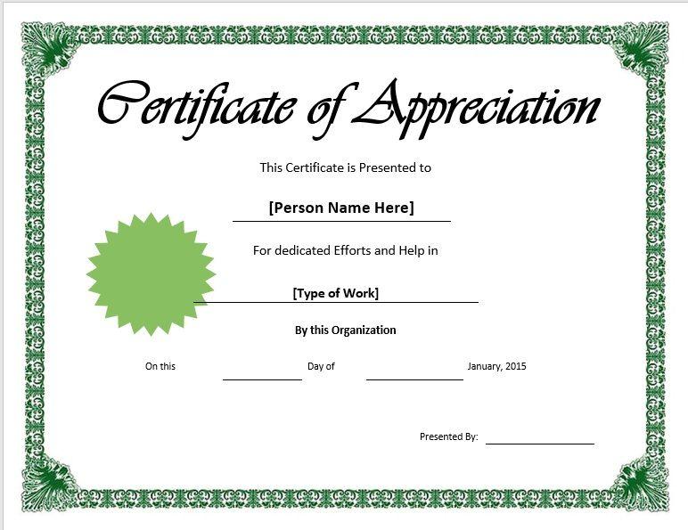 11 Free Appreciation Certificate Templates - Word Templates for  With Regard To In Appreciation Certificate Templates Throughout In Appreciation Certificate Templates
