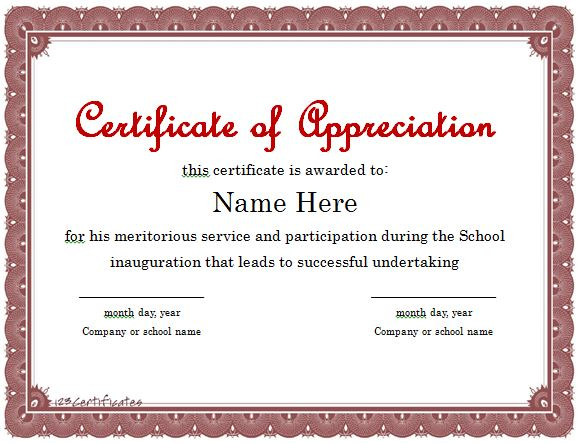 11 Free Certificate of Appreciation Templates and Letters - Free  With Regard To In Appreciation Certificate Templates Inside In Appreciation Certificate Templates