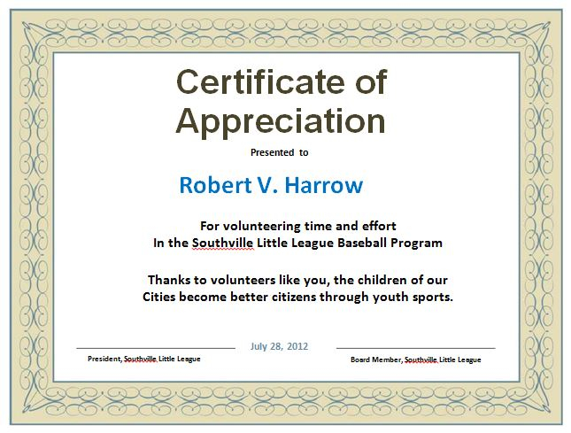 11 Free Certificate of Appreciation Templates and Letters - Free  Within In Appreciation Certificate Templates For In Appreciation Certificate Templates