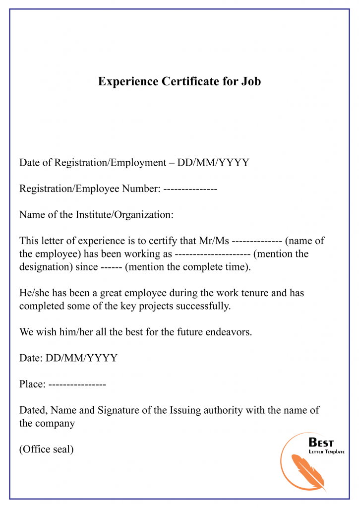 11+ Free Experience Certificate Sample & Example Within Template Of Experience Certificate With Template Of Experience Certificate