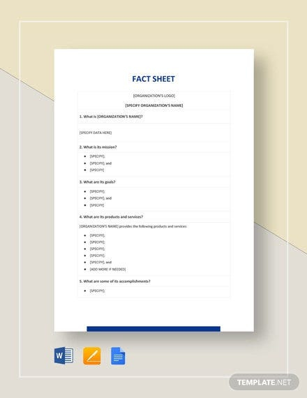 11+ Free Fact Sheet Templates - Survey, Campaign  Free & Premium  For Fact Sheet Template Word With Regard To Fact Sheet Template Word