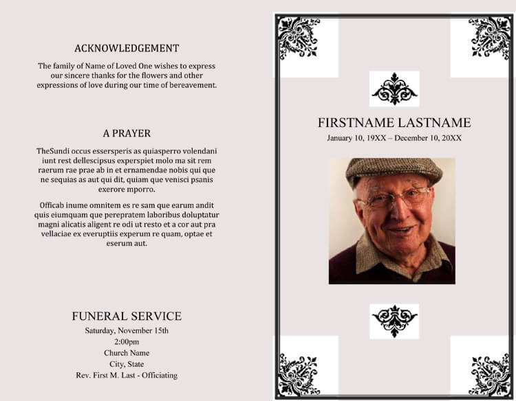 11+ FREE Funeral Program Templates ( Word, Photoshop, Illustrator) With Regard To Memorial Brochure Template Throughout Memorial Brochure Template
