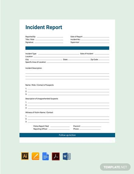 11+ Free Incident Report Templates - PDF, Word  Free & Premium  With Incident Report Form Template Word Pertaining To Incident Report Form Template Word