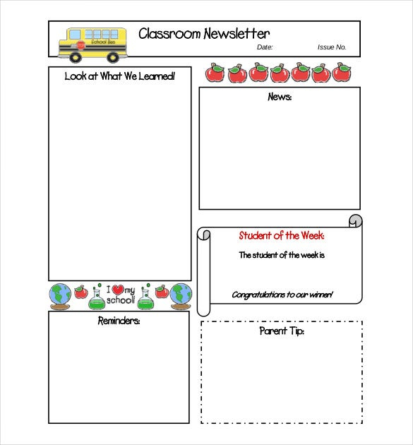 11+ Free Newsletter Templates - Free Word, PDF Documents Download  Pertaining To Free School Newsletter Templates Intended For Free School Newsletter Templates