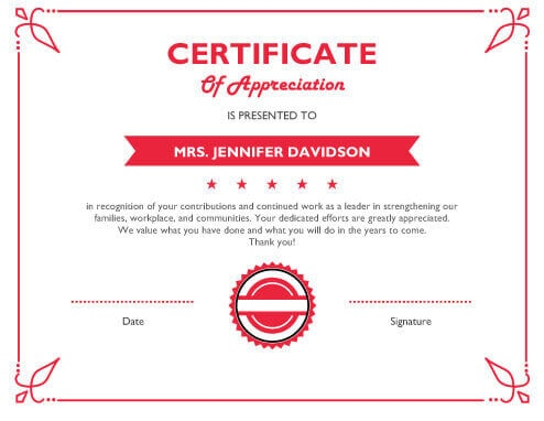 11 Free Printable Certificates of Appreciation Templates  Hloom Intended For In Appreciation Certificate Templates Throughout In Appreciation Certificate Templates