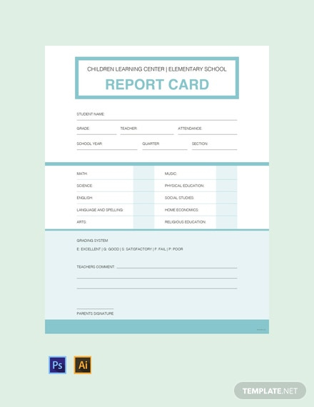 11+ FREE Report Card Templates [Customize & Download]  Template In Report Card Template Pdf
