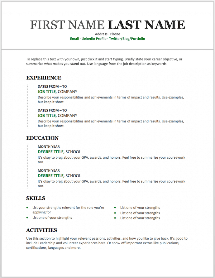 11 Free Resume Templates for Microsoft Word (& How to Make Your Own) Pertaining To Microsoft Word Resumes Templates In Microsoft Word Resumes Templates