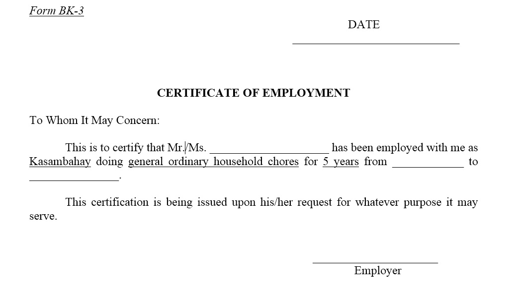 11 Free Sample Employment Certificate Templates - Printable Samples With Certificate Of Service Template Free Within Certificate Of Service Template Free