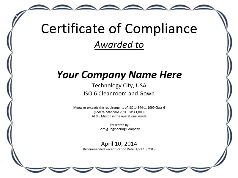 11 Free Sample Professional Compliance Certificate Templates  Throughout Certificate Of Compliance Template In Certificate Of Compliance Template