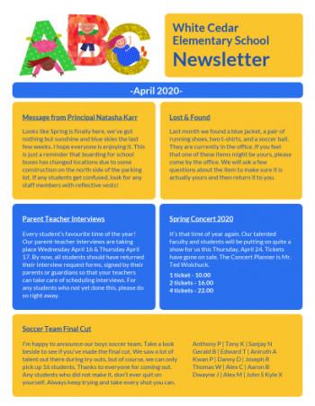 11+ Free School Newsletter Templates  Custom Newsletters Pertaining To Free School Newsletter Templates With Regard To Free School Newsletter Templates
