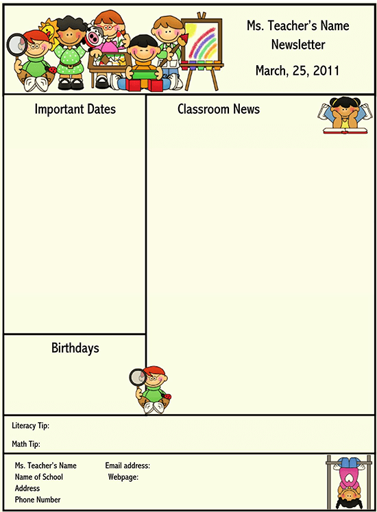 11+ Free School Newsletter Templates for Classroom and Parents Intended For Free School Newsletter Templates With Regard To Free School Newsletter Templates