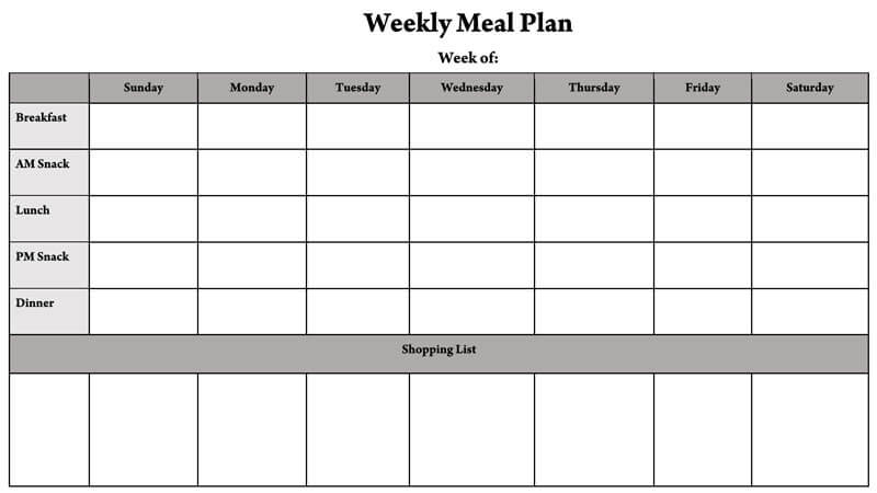 11+ Free Weekly/Daily Meal Plan Templates (for Excel and Word) Intended For Menu Planning Template Word Pertaining To Menu Planning Template Word
