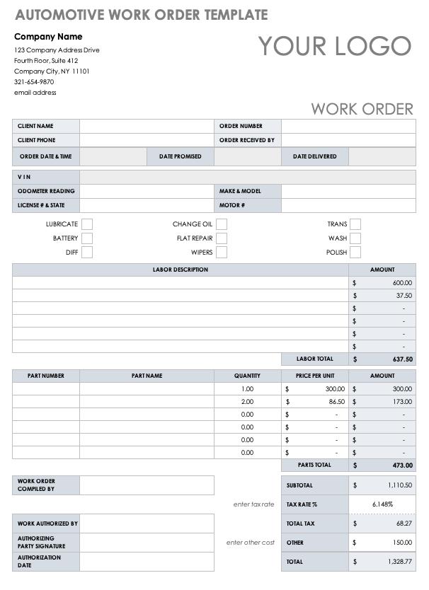 11 Free Work Order Templates  Smartsheet Throughout Job Card Template Mechanic With Regard To Job Card Template Mechanic