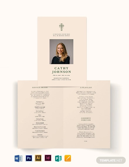 11+ Funeral Program Brochure Templates - PSD, AI, Word  Free  For Memorial Brochure Template Intended For Memorial Brochure Template