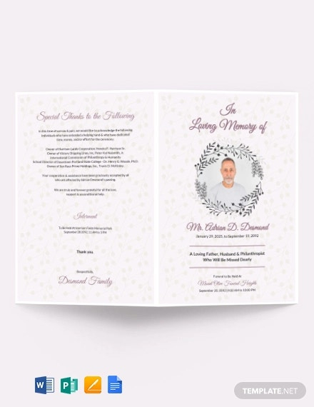 11+ Funeral Program Templates in PDF  MS Word  Pages  Google  Inside Memorial Brochure Template Throughout Memorial Brochure Template