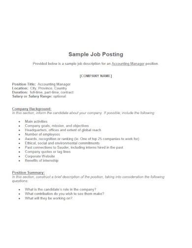 11+ Job Posting Templates - PDF, Word  Free & Premium Templates With Internal Job Posting Template Word Pertaining To Internal Job Posting Template Word