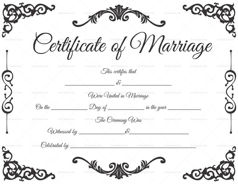 11+ Marriage Certificate Templates (Word  PDF) Editable & Printable Inside Certificate Of Marriage Template In Certificate Of Marriage Template