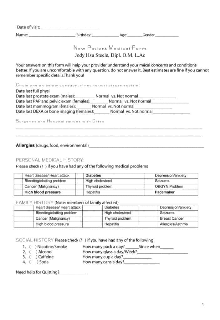 11 Medical History Forms [Word, PDF] - Printable Templates Pertaining To History And Physical Template Word
