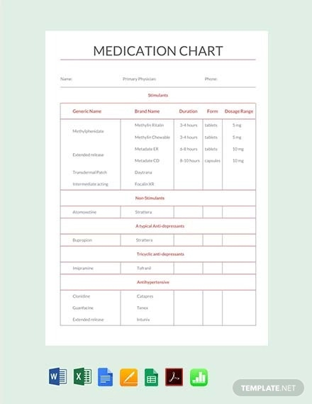 11+ Medication Chart Template - Free Sample, Example, Format  In Medication Card Template Regarding Medication Card Template