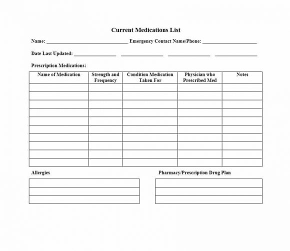 11 Medication List Templates for any Patient [Word, Excel, PDF] In Medication Card Template With Regard To Medication Card Template