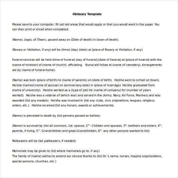11+ Microsoft Word Obituary Templates Free Download  Free  In Obituary Template Word Document Intended For Obituary Template Word Document