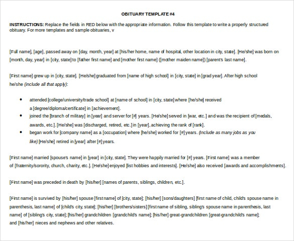 11+ Microsoft Word Obituary Templates Free Download  Free  Regarding Obituary Template Word Document Inside Obituary Template Word Document