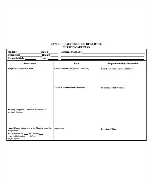 11+ Nursing Care Plan Templates -Free Sample, Example Format  Regarding Nursing Care Plan Templates Blank In Nursing Care Plan Templates Blank