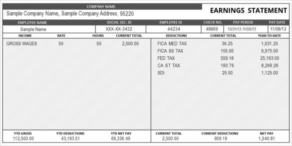 11+ Pay Stub Templates - Samples, Examples & Formats Download  Pertaining To Pay Stub Template Word Document Regarding Pay Stub Template Word Document