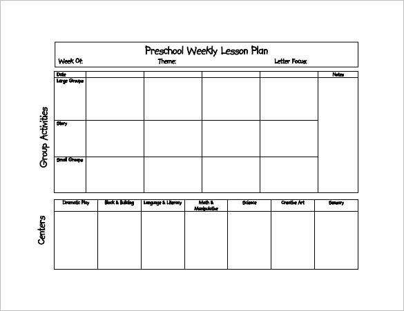 11+ Preschool Lesson Plan Templates - DOC, PDF, Excel  Free  Regarding Blank Preschool Lesson Plan Template Pertaining To Blank Preschool Lesson Plan Template