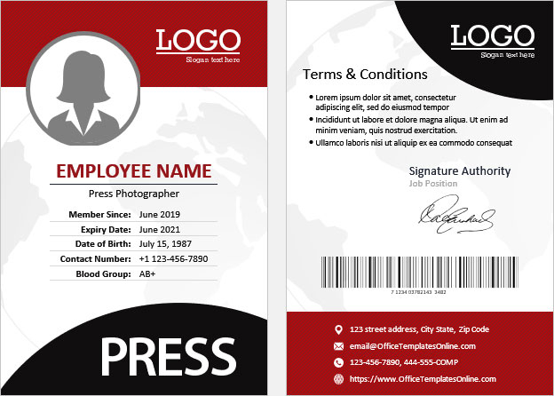 11+ Press ID Card (Pass Badge) Templates for MS Word  Office  With Photographer Id Card Template Inside Photographer Id Card Template