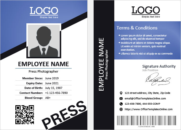 11+ Press ID Card (Pass Badge) Templates for MS Word  Office  Pertaining To Photographer Id Card Template
