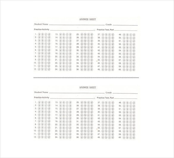 11+ Printable Answer Sheet Templates, Samples & Examples  Free  With Regard To Blank Answer Sheet Template 1 100 For Blank Answer Sheet Template 1 100