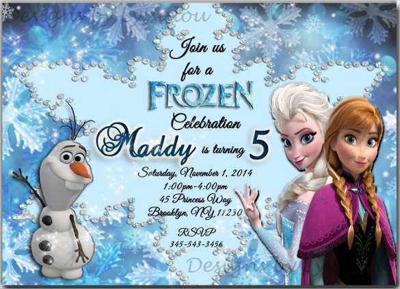 11 Printable Frozen Birthday Invitation Template PSD File for  With Regard To Frozen Birthday Card Template For Frozen Birthday Card Template