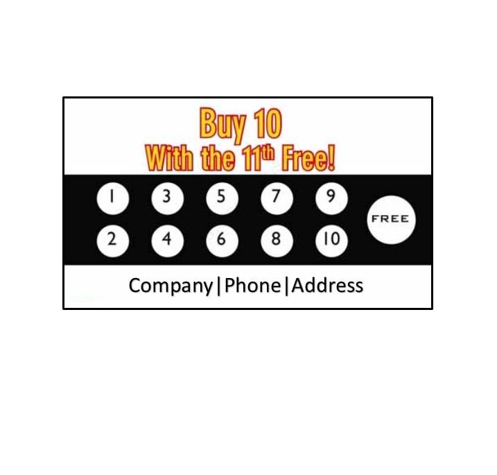 11 Printable Punch / Reward Card Templates [11% Free] With Free Printable Punch Card Template In Free Printable Punch Card Template
