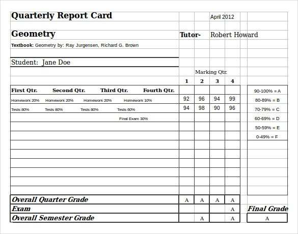 11 Report Printable Report Card Template Pdf for Ms Word by  Throughout Report Card Template Pdf Intended For Report Card Template Pdf